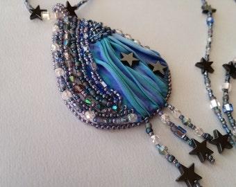 Shibori silk handmade necklace