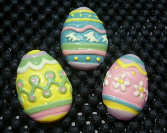 Australian Made Fondant Mold. 3 x EASTER EGGS. Detailed Fondant Mold. Quality Silicon, use with Fondant, SugarCraft, Elegant Cake Decorating