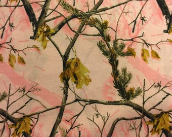 Pink Camo Fabric Cotton By the Yard 36 Inches Long