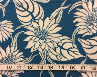 Tropical Fabric Blue White Flowers Cotton By The Yard 36 Inches Long.