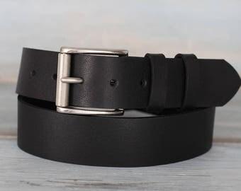 Leather Belt, Black Leather Belt, Mens Belt, Jeans Belt