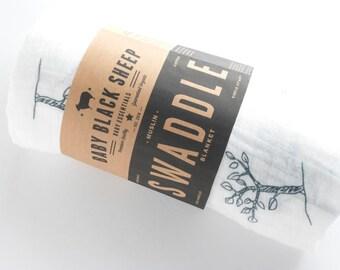 SALE! Muslin Swaddle Blanket - Trees - Organic!