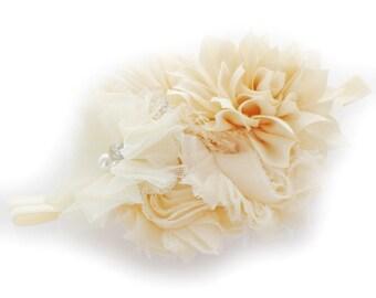 Ivory Baby Shabby Fabric Flower Cluster Headband