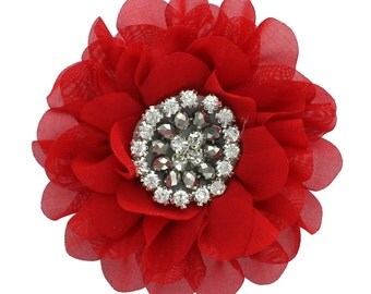 Chiffon Jewelled Hair Flower Clip - Red
