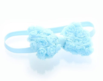 Light Blue Baby Rose Bow Headband