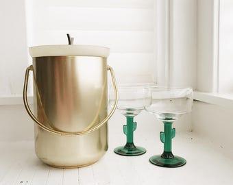 vintage brass ice bucket, hollywood regency ice bucket, barcart decor, vintage barcart, vintage brass, boho ice bucket, mcm ice bucket
