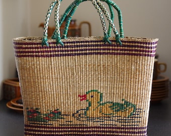 Straw Market Basket bag with Duck on Pond