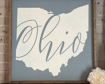 State of Ohio framed wood sign | Ohio State | Ohio pride | Farmhouse ohio | Rustic | blue and white