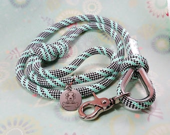 Mint Green, Black and White Semi-soft Climbing Rope Dog Leash - 10mm
