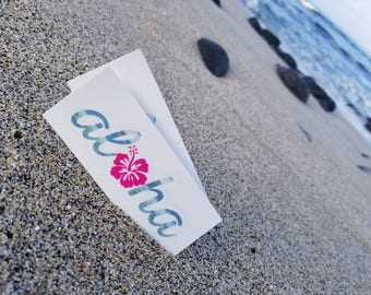 Laptop Sticker, Aloha Stickers, Aloha Hibiscus, Aloha, Tumblr Stickers, Vinyl Sticker, Gift for Her, Best Friend Gift, Summer 2017, Waves