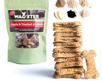 All Natural Apple & Toasted Almond Dog Treats Vegan, Wheat-Free, Corn-Free, Soy Free, Dairy-Free, Human Grade Ingredients