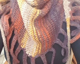 Hand made soft crochet wool scarf