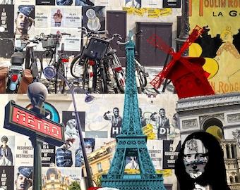 Paris, Eiffel Tower, Mona Lisa, Metro, Moulin Rouge, Notre Dame, trip, Street, Pop Art, square, 20 x 20