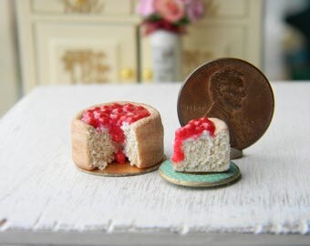 Sugar Cookie Cherry Cheesecake, Miniature Food,12 Scale,Dollhouese Food,Dollhouese Miniatures,Miniature  Cake, Dollhouse Easter,  Fruit Cake