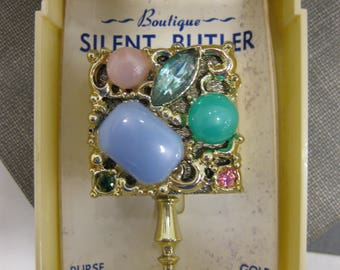 Colorful Boutique Personal Size Silent Butler Ashtray With Rhinestone Accents