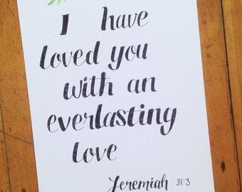 Jeremiah 31:3 | Everlasting Love | Scipture Art