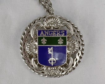 Vintage Angers Coat of Arms Necklace Brooch/Pin Enamel Fleur de Lis Crest Key Duo Combo Use of Jewelry