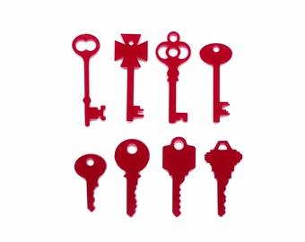 Set mixed keys jewellery supplies x8, Keys bijoux, Key bracelet, Keys charms, Keys necklace, Key lasercut, Key wood plexiglas - SET 8 pieces