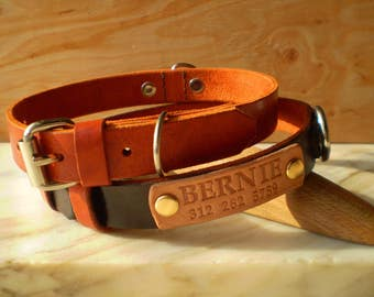 Dog Collar, Leather Dog Collar, Custom Leather Dog Collar, Personalized Leather Dog Collar, Engraved Collar, Natural Leather, Two D-rings