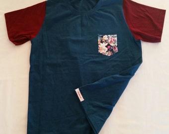 Men's Tee Shirt Medium, teal, burgundy, floral