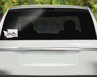 Washington State Decal - PNW Mountains Car Decal -  Washington Sticker - State Sticker - Bumper sticker - Vinyl Decal - Car Sticker - Travel