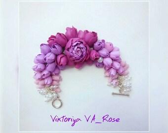 Bracelet with pink peony - Flower bracelet - Pink bracelet with flowers - custom jewelry - summer jewelry - charm bracelet