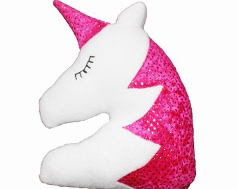 Unicorn Pillow, Girls Pillow, pink