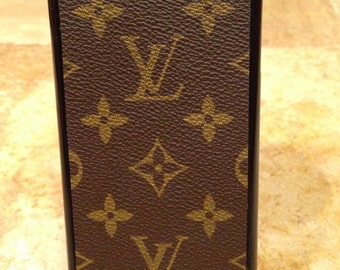 Handcrafted iphone 7plus hard cell phone case covered with re-purposed Louis Vuitton canvas