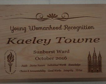 LDS Young Womanhood Recognition Plaque