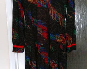 Vintage 'Marcelle Griffon' Black & Multi Coloured  Dress.     UK Size 14.  Special Offer