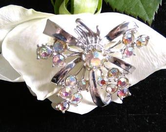 Vintage Silver Tone Sparkly Flower Brooch