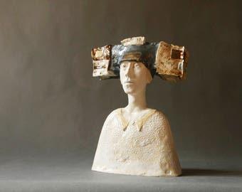 "Ceramic Sculpture, Fine Art Ceramic, Unique Clay Sculpture, A Man""s Bust, Art Object, Handmade Ceramic Art, Pottery, Sculpture"