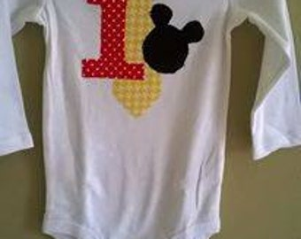 Mickey Mouse 1st birthday onesie w/ tie