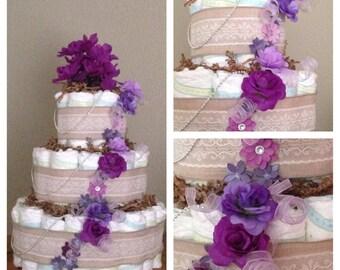 Purple Flower Baby Girl Diaper Cake