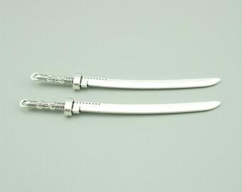 10pcs 107x10mm Antique Silver Katana Charm Pendants, Weapon Charm Pendants JH3766