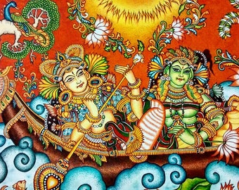 Colorful Kerala Mural Painting - Indian Gods On a Lake