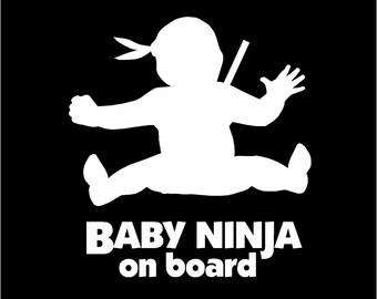 BABY ON BOARD Baby Ninja Vinyl Car Window Decal Sticker Kung Fu Karate
