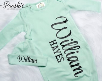 Baby Boy Coming Home Outfit, Mint Baby Boy Gown, Custom Name Baby Outfit, Mint Baby Outfit, Baby Shower Gift for Boy, Boy Gown & Hat Set P25