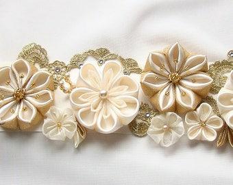 Bridal sash, wedding belt, bridal belt, wedding sash, gold belt sash, lace belt, floral sash, maternity sash, ivory gold sash, unique sash