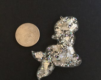 Sparkly, mermaid silhouette charm