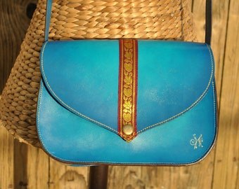 Bag leather, turquoise