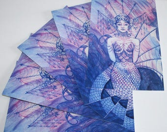 Pack of 5 Large Postcards - Ultraviolet Mergirl