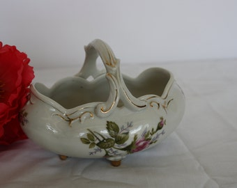 Glass Basket, Floral and Gold ProcelainBasket