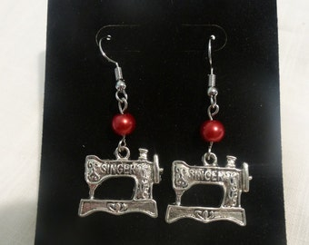 Vintage Style SINGER Sewing Machine Earrings, silver tone, many colors available