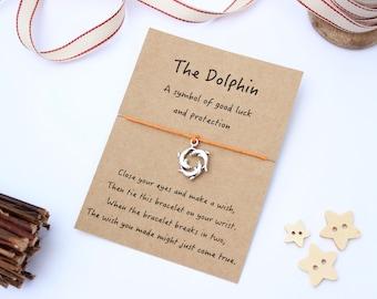 Dolphin Wish Bracelet, Dolphin Jewellery, Dolphin Friendship Bracelet, Good Luck Bracelet, Ocean Jewellery, Dolphin Gift, Good Luck Gift