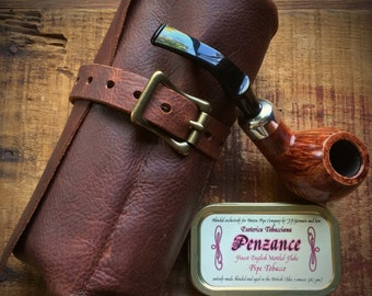 BACKORDER listing** The Everett Burley Leather pipe roll, tobacco briar pouch - case - brown - durable - case - bag - cowhide - top grain