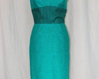 Teal Polka Dot Retro Dress