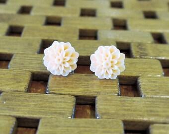 Light Cream Dahlia Flower Stud Earrings