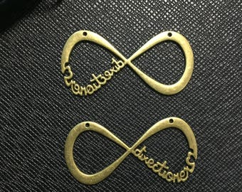 10pcs infinite pendant , infinite charm, antique bronze tone