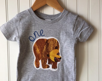 Bear birthday shirt. Wild Adventure. First birthday shirt featuring brown bear ONE. Wild ONE. Any number, age. Book themed.